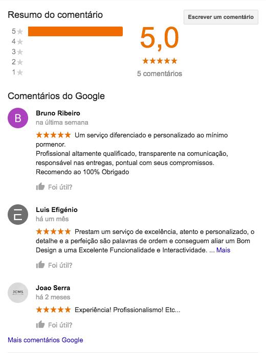 web design, comentários e reviews